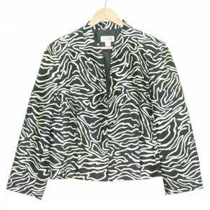 Talbots Zebra Silk Wool Popover Open Blazer